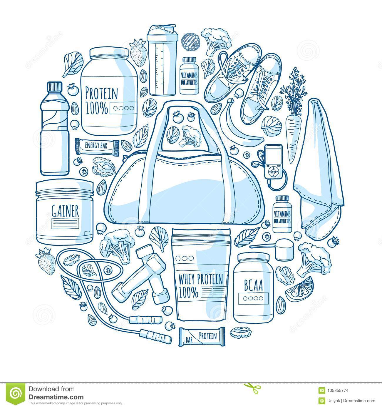 Round linear design of the banner about sports for a healthy lifestyle. Pattern of sports nutrition and supplements. A