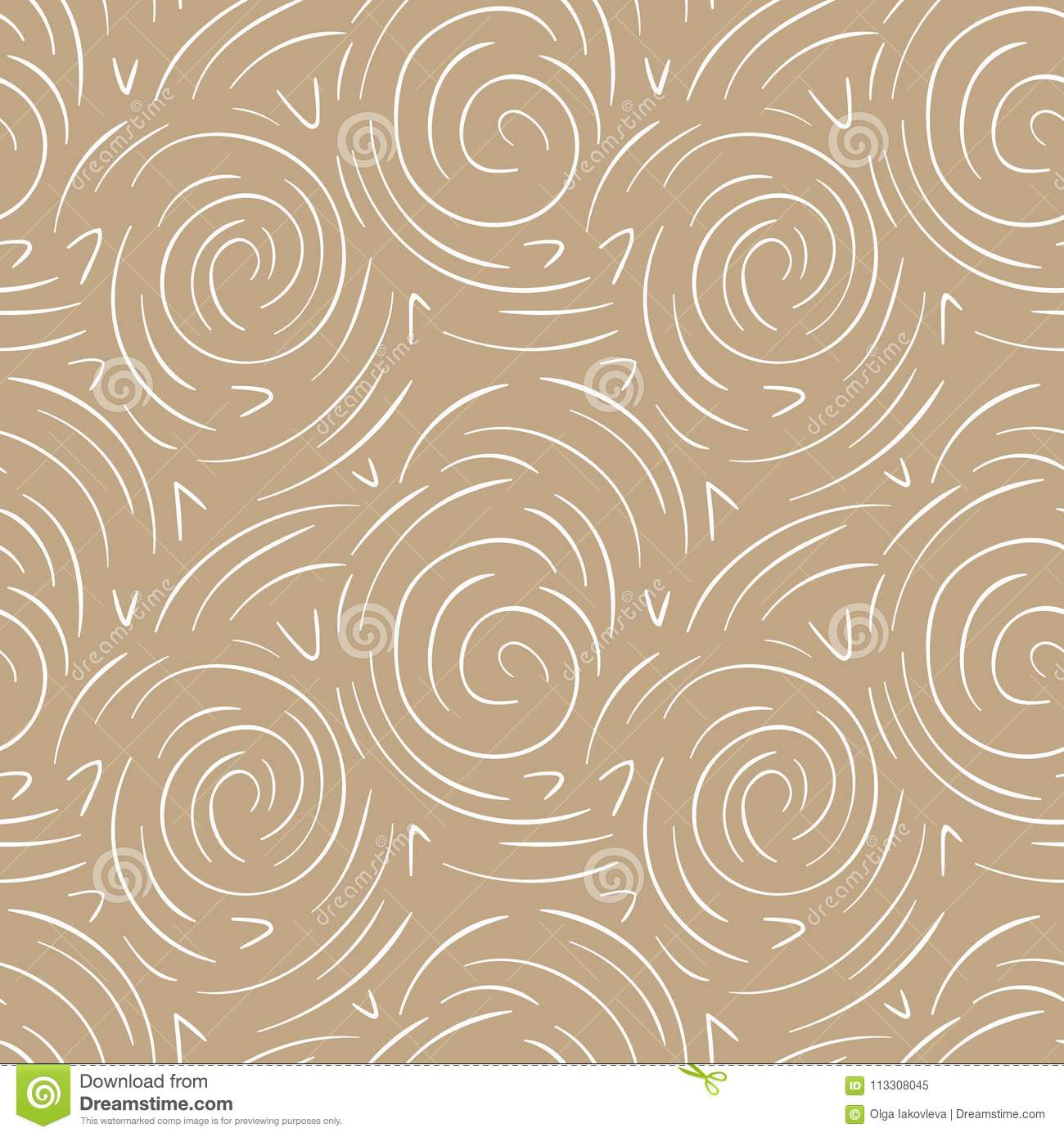 Round lines abstract vector seamless pattern. Modern gold and white background