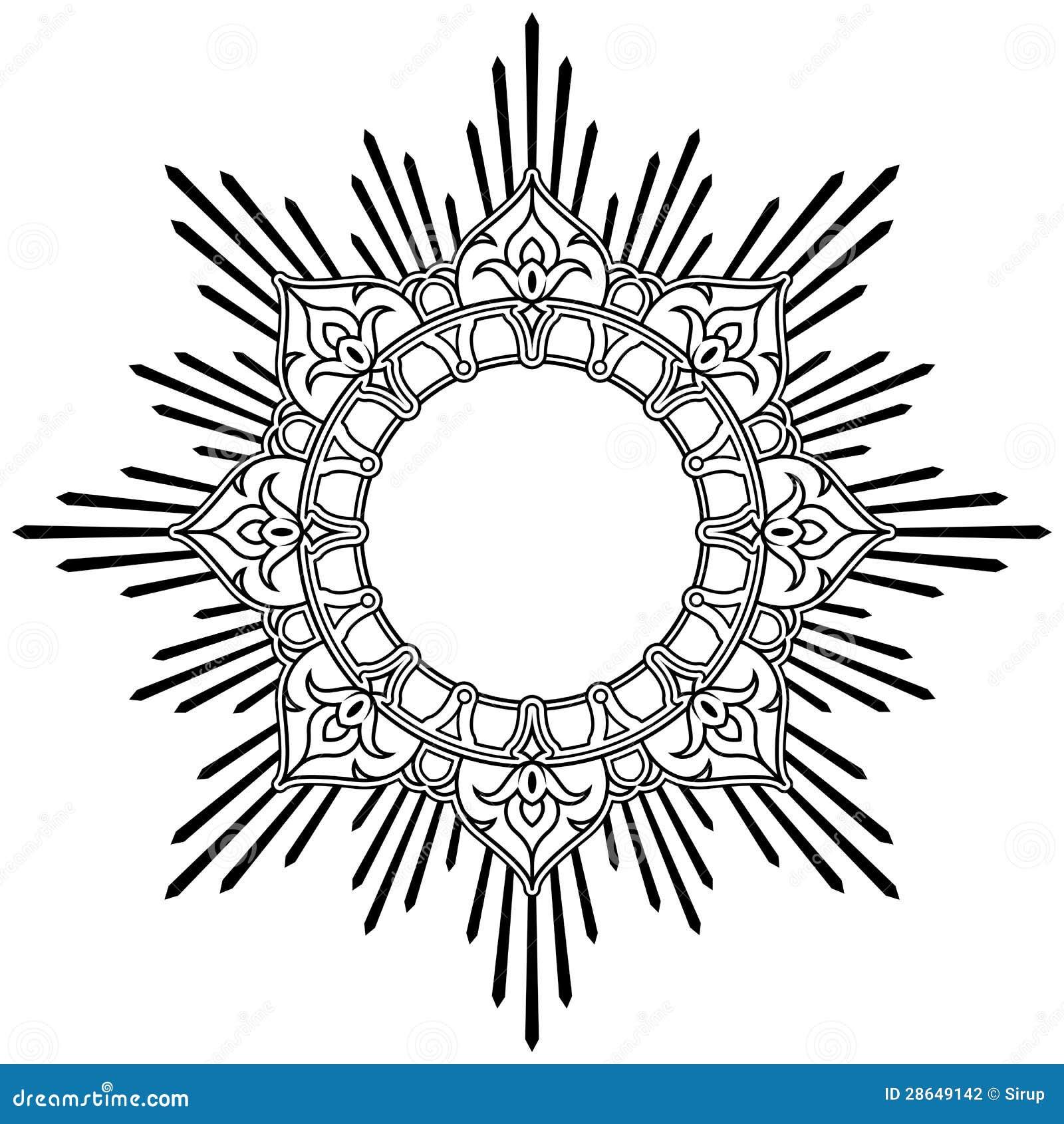 Round Lotus Calligraphic Border Stock Photography Image 28649142