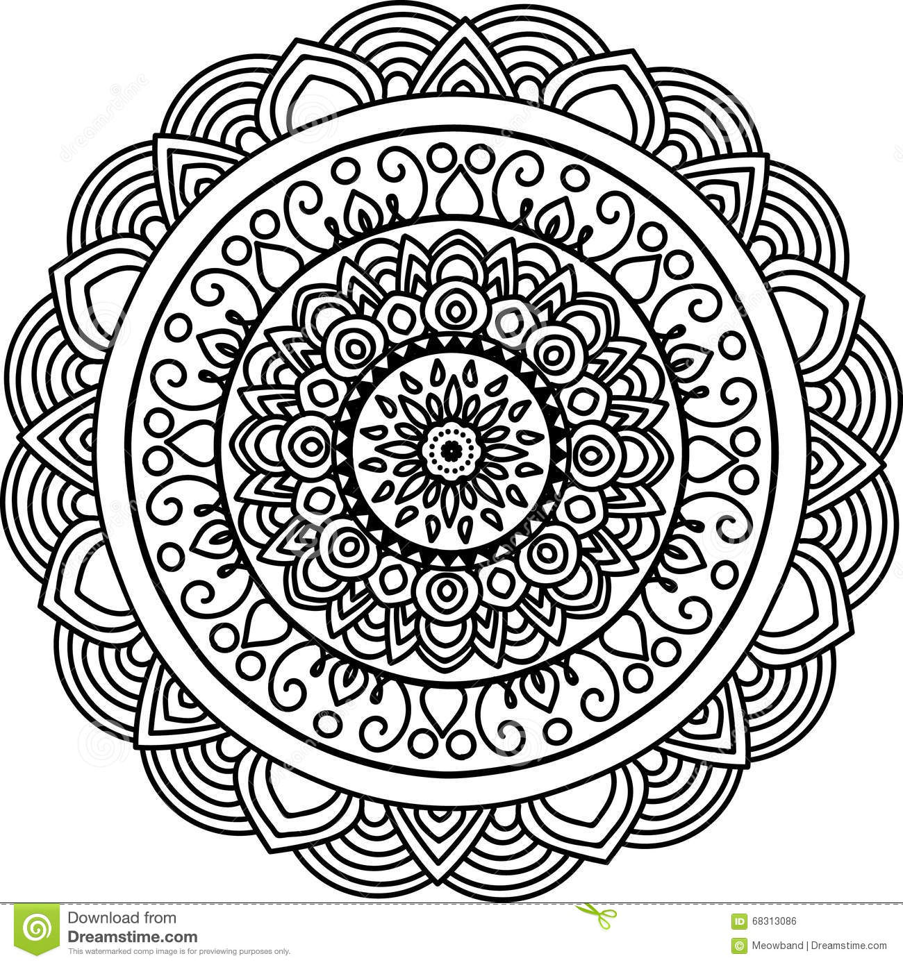 round mandala stock illustration image 68313086. Black Bedroom Furniture Sets. Home Design Ideas