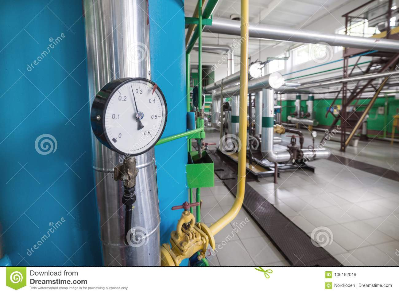 Round Mechanical Pressure Gauges On Pipelines. Stock Image - Image ...