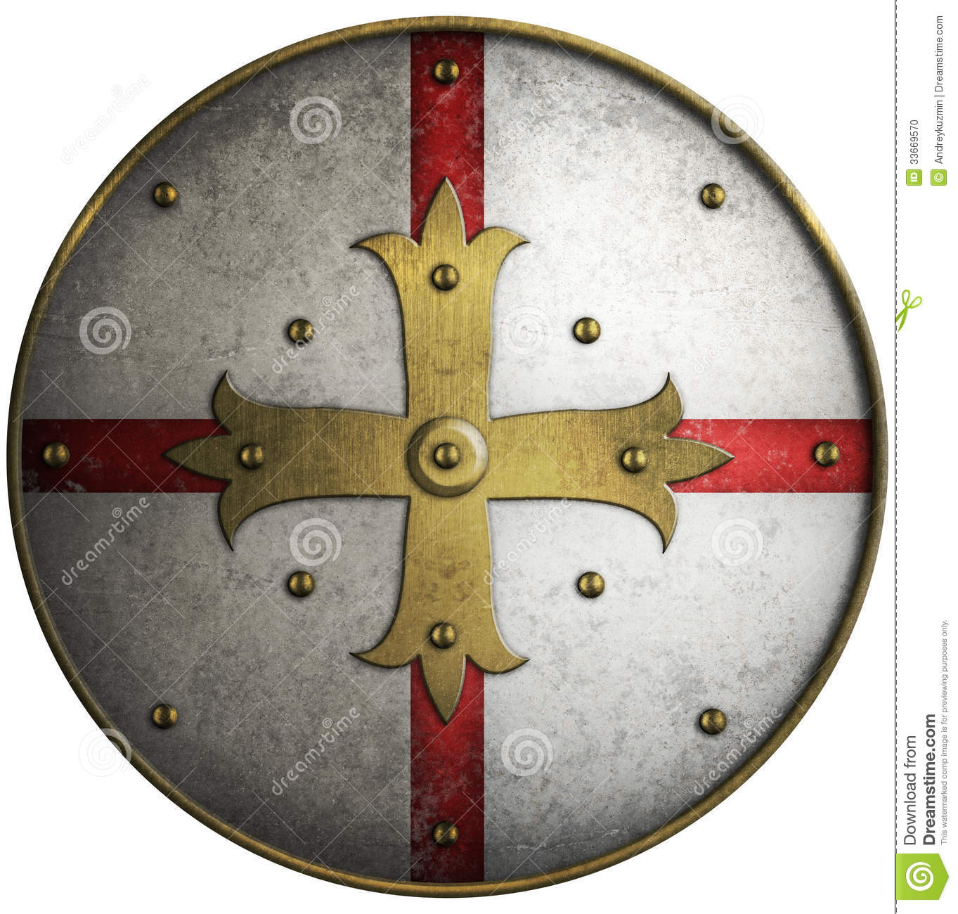 Round Medieval Shield With Golden Cross Stock Photo ...