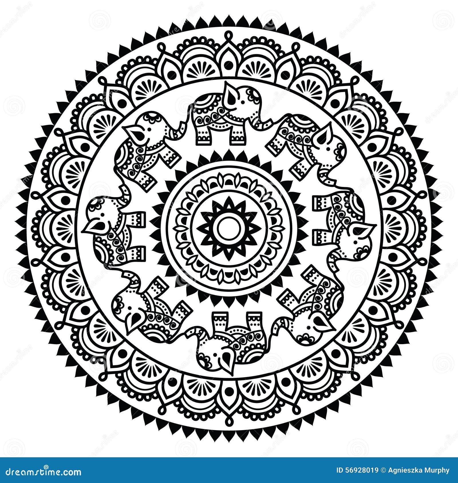Round Mehndi Indian Henna Tattoo Pattern Stock Vector