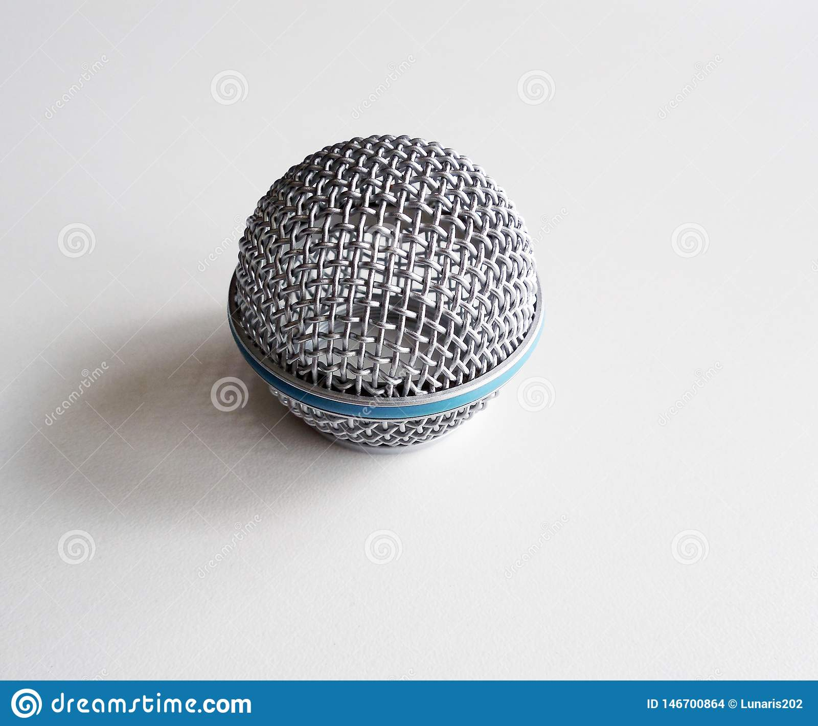 Round metal mesh on the microphone