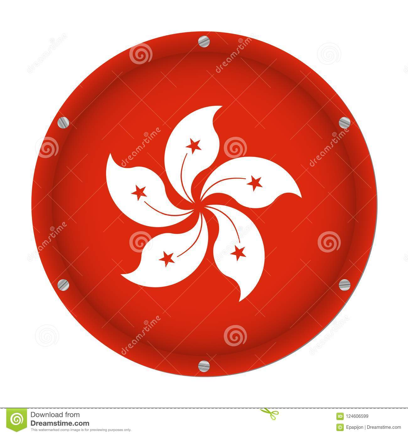 Round metallic flag of hong kong with screws stock vector round metallic flag of hong kong with six screws in front of a white background mightylinksfo