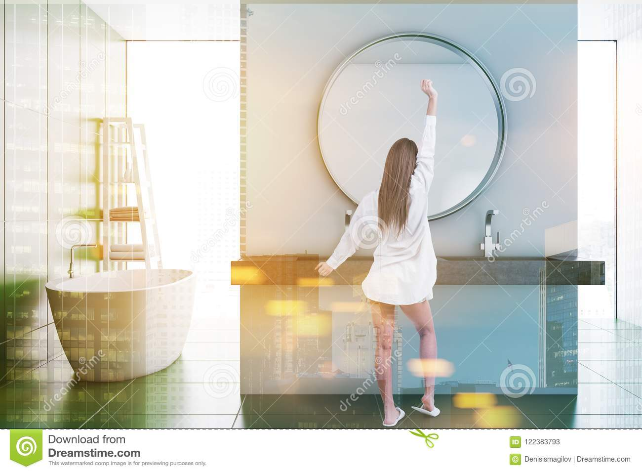 Round Mirror Bathroom Tub And Sink Woman Stock Image Image Of Modern Beautiful 122383793
