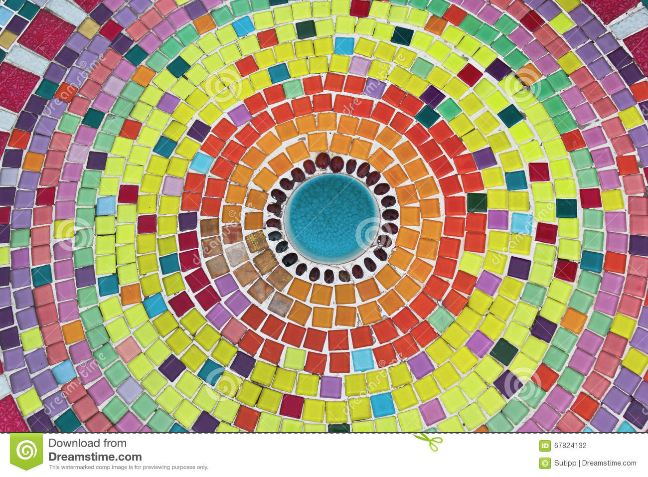 Round Mosaic Tile Pattern In Many Colors Stock Photo - Image: 67824132