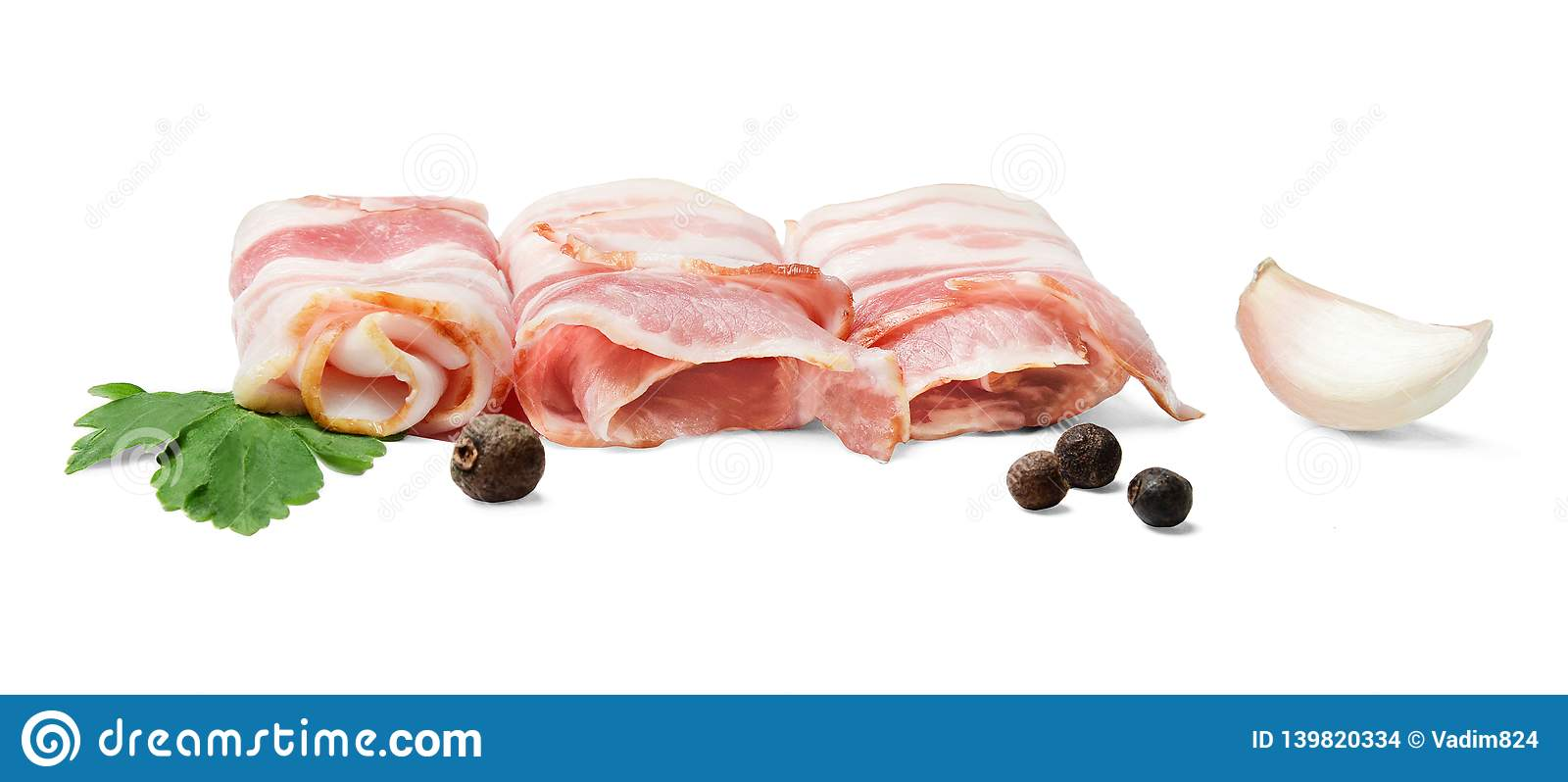 Round mugs of bacon with spices on a white background.