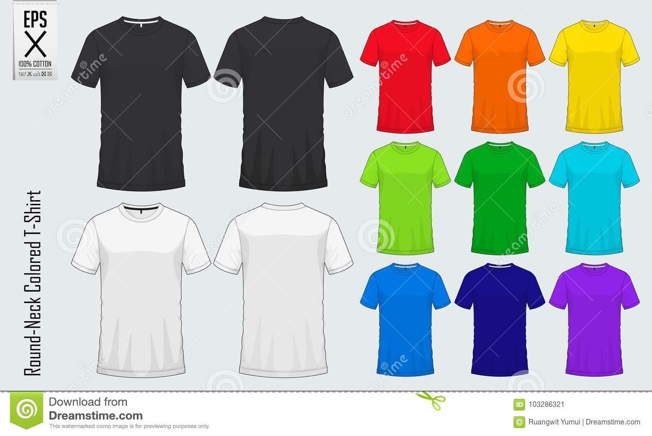 454e7676 Round neck t-shirts templates. Colored shirt mockup in front view and back  view