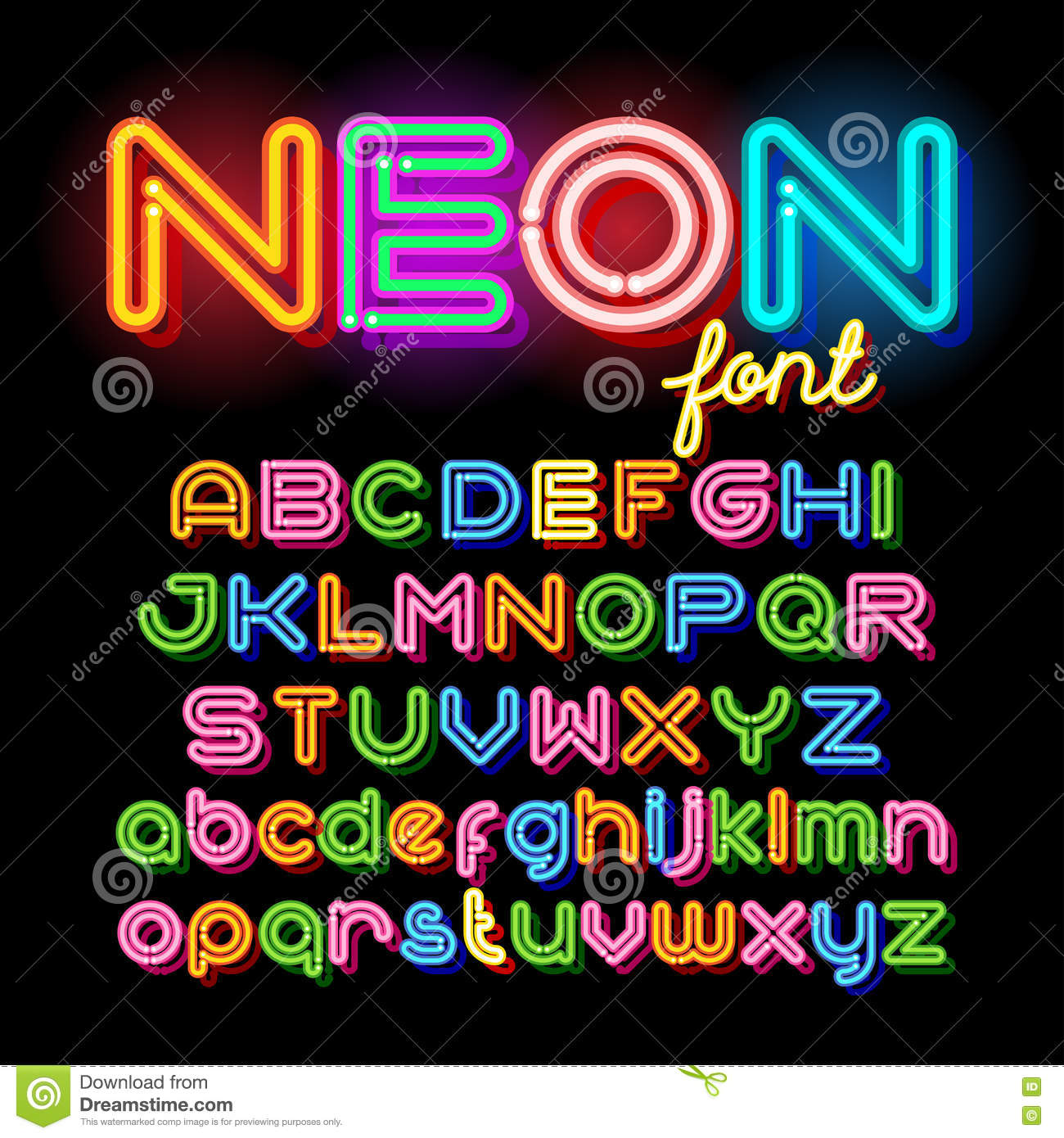 Round Neon Font Stock Vector. Image Of Lettering