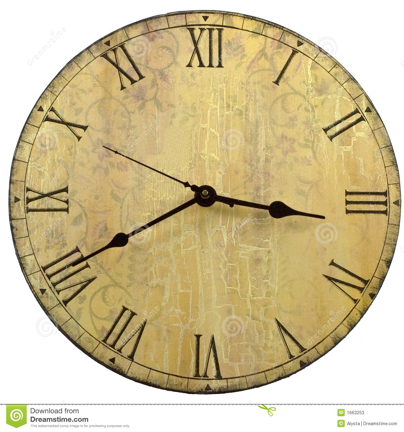 Round Old Style Wall Clock stock image. Image of wood ...