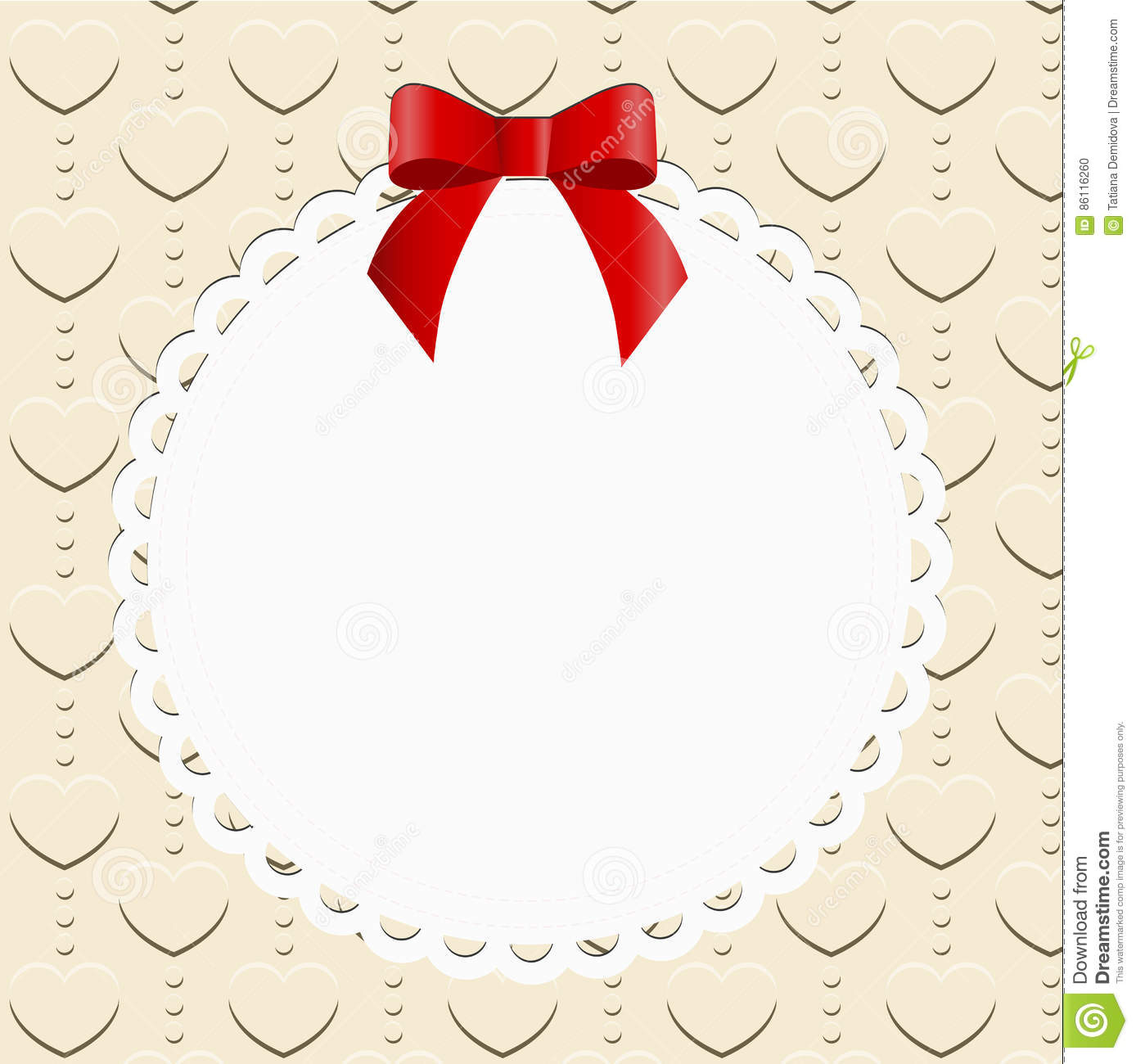Round Openwork Frame With Red Bow On Background Stock Vector