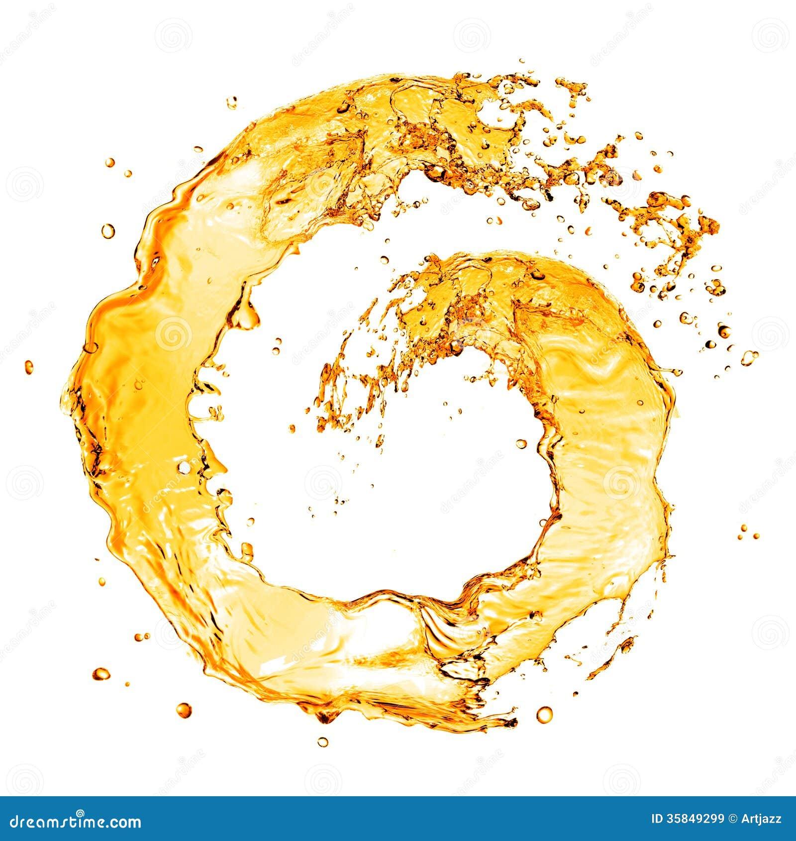 Round orange water splash isolated on white