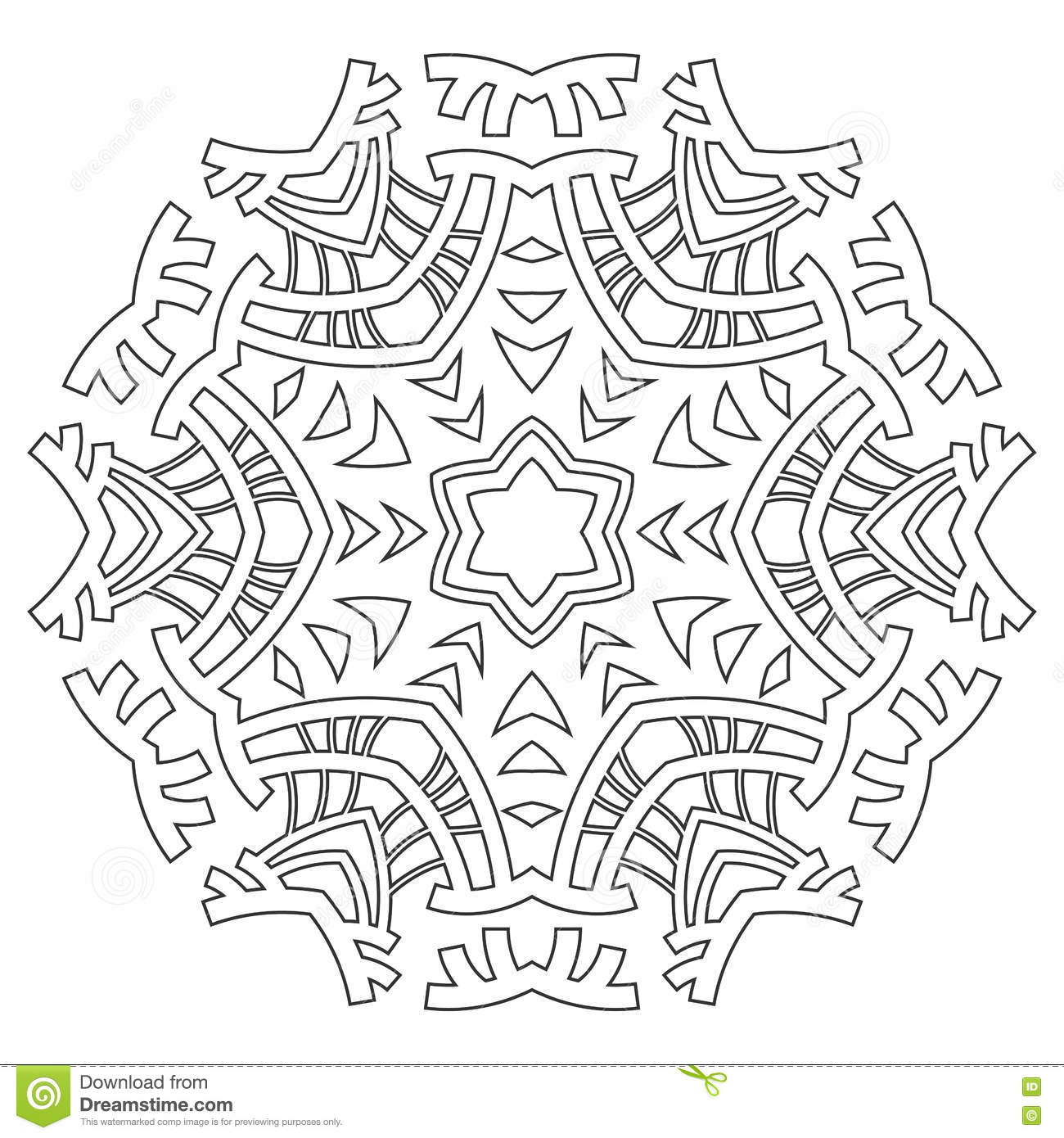 Round Ornament For Coloring Books Black White Pattern Lace