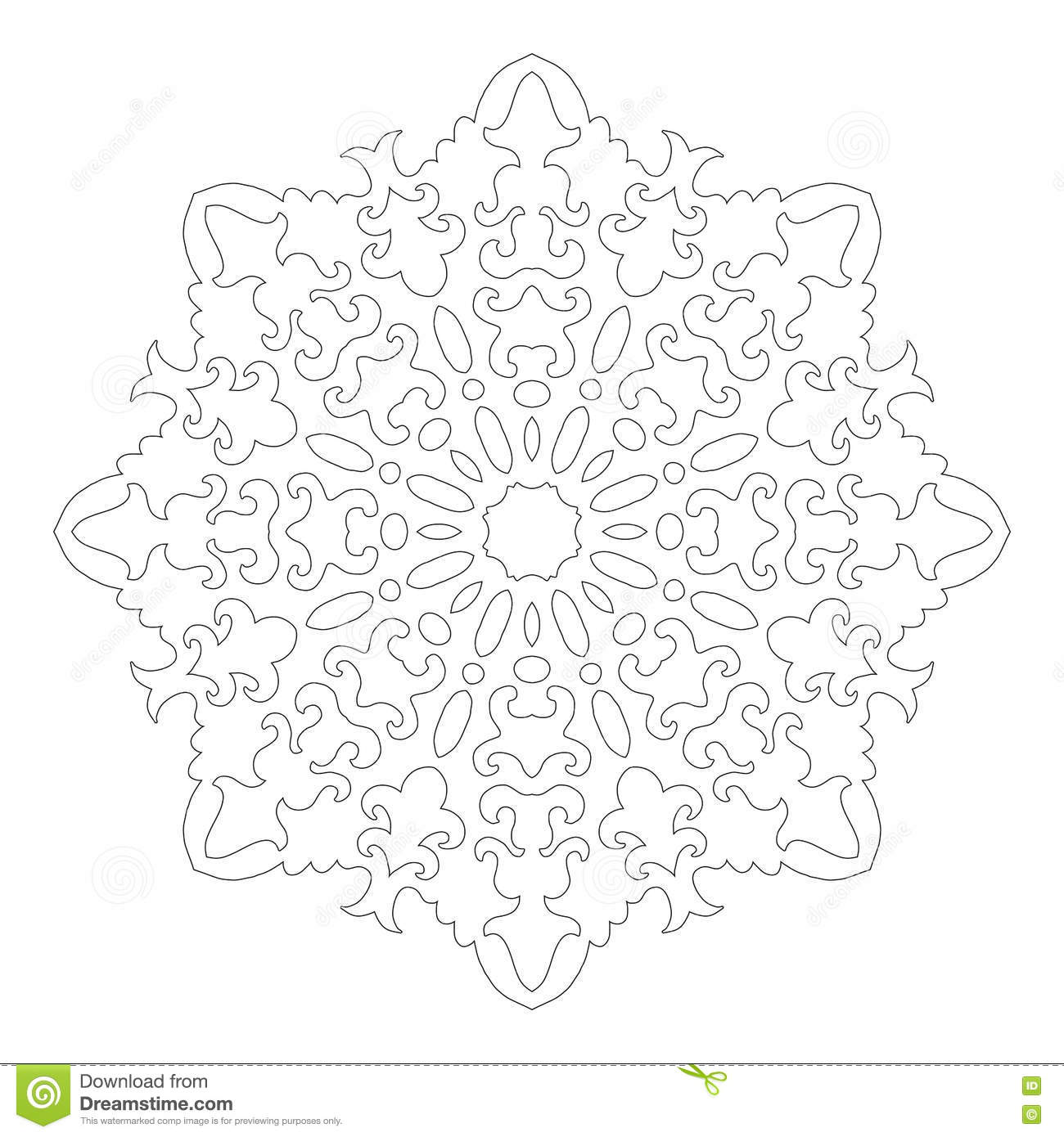 Coloring book snowflake - Coloring Book Snowflake Round Ornament For Coloring Books Black White Pattern Lace Snowflake