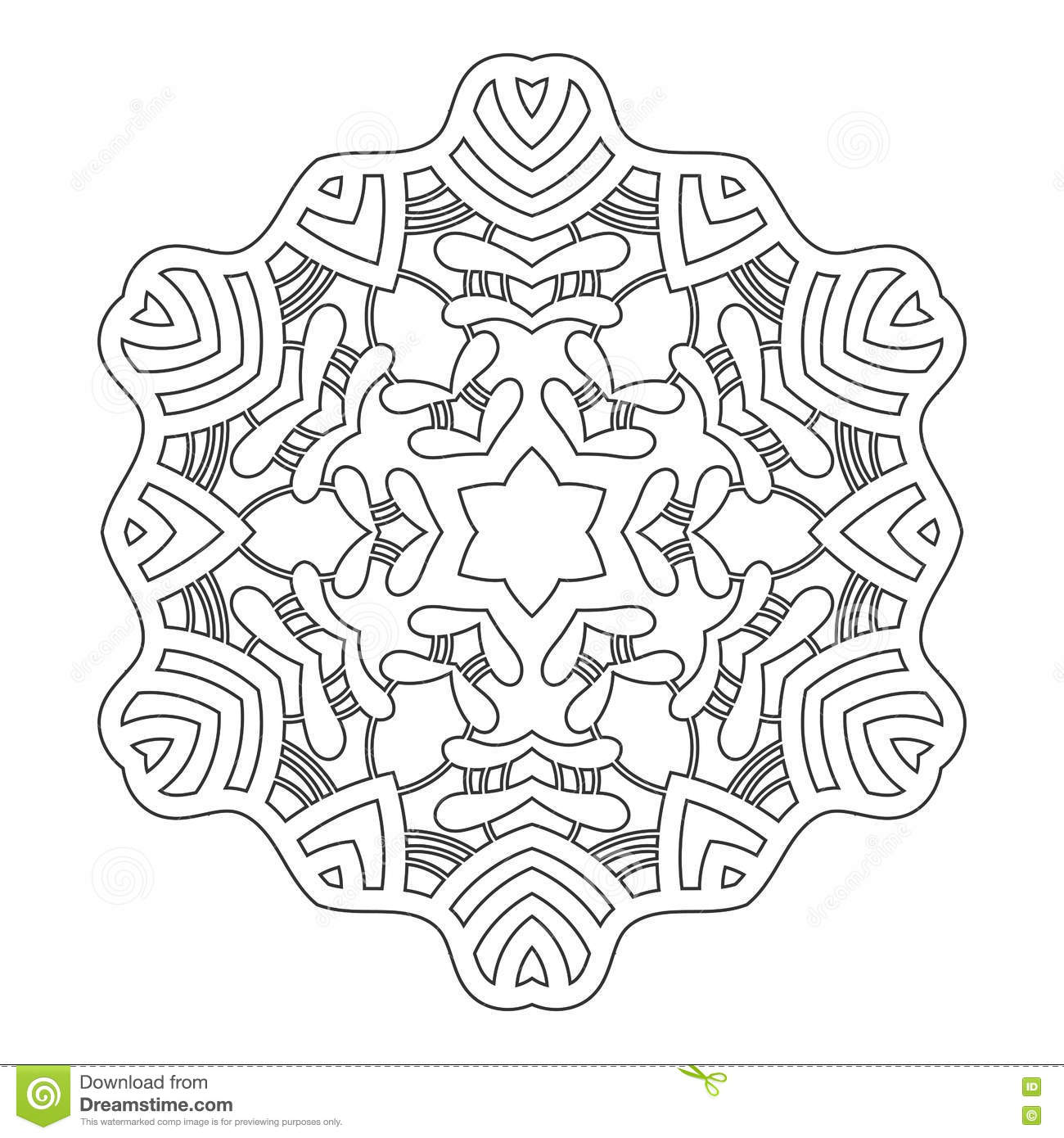 Coloring book snowflake - Round Ornament For Coloring Books Black White Pattern Lace Snowflake