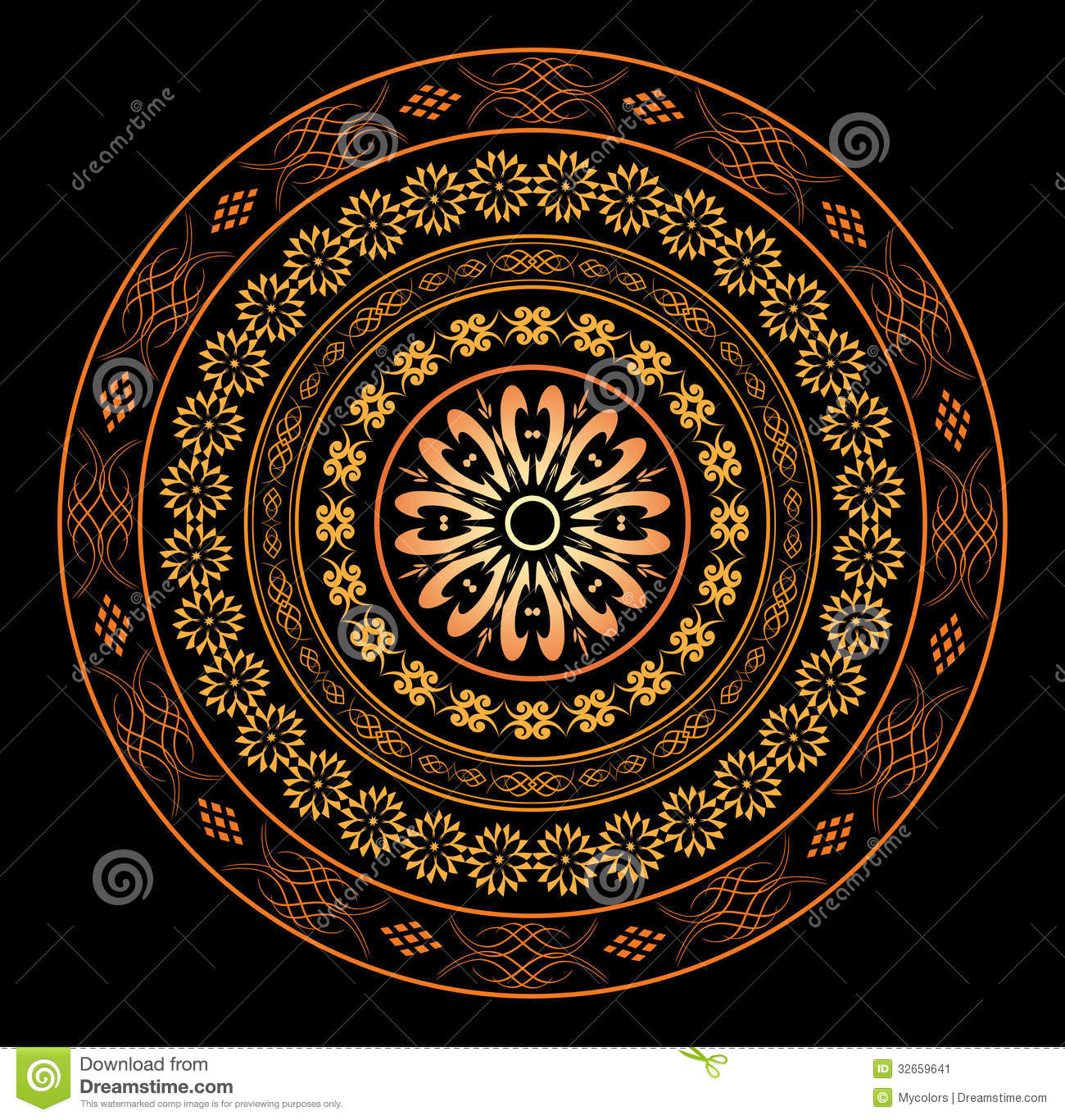 Round Ornament For Design On Black Vector Stock Vector