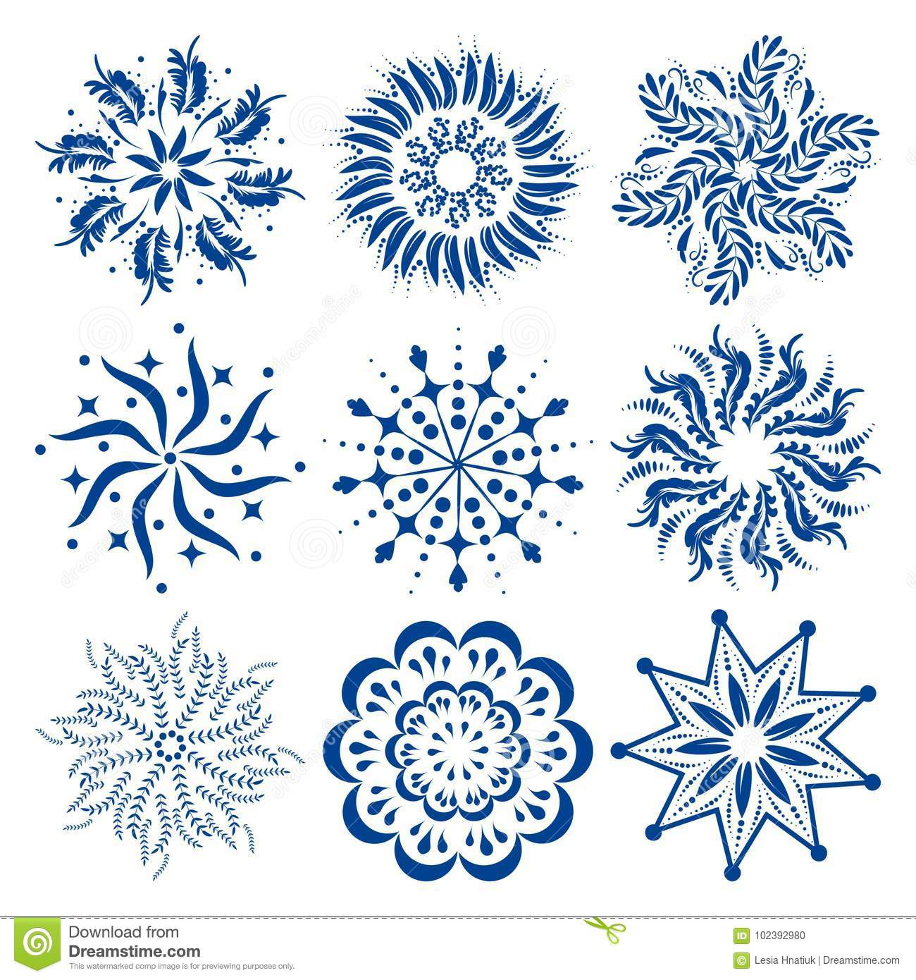 round ornaments set of colorful vector mandalas or snowflakes stock