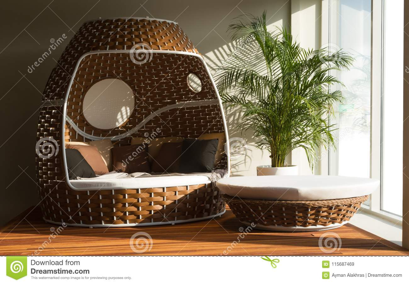 Round Outdoor Patio Daybed Set Stock Image Image Of Luxury Chair 115687469