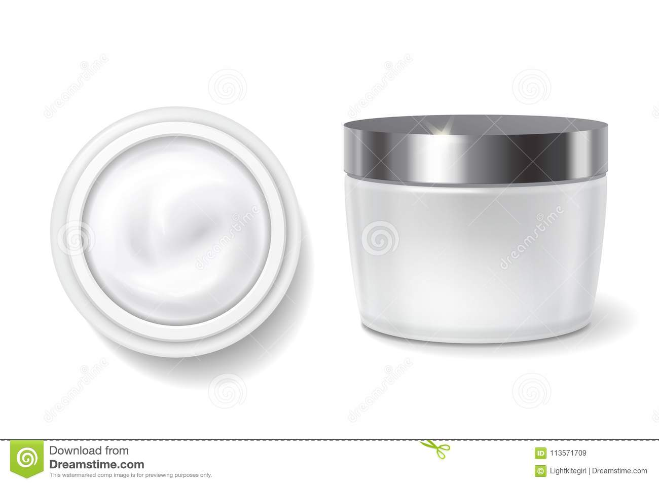 Round Packaging Of Cream Skin Care White Cosmetic Jar Top And Side