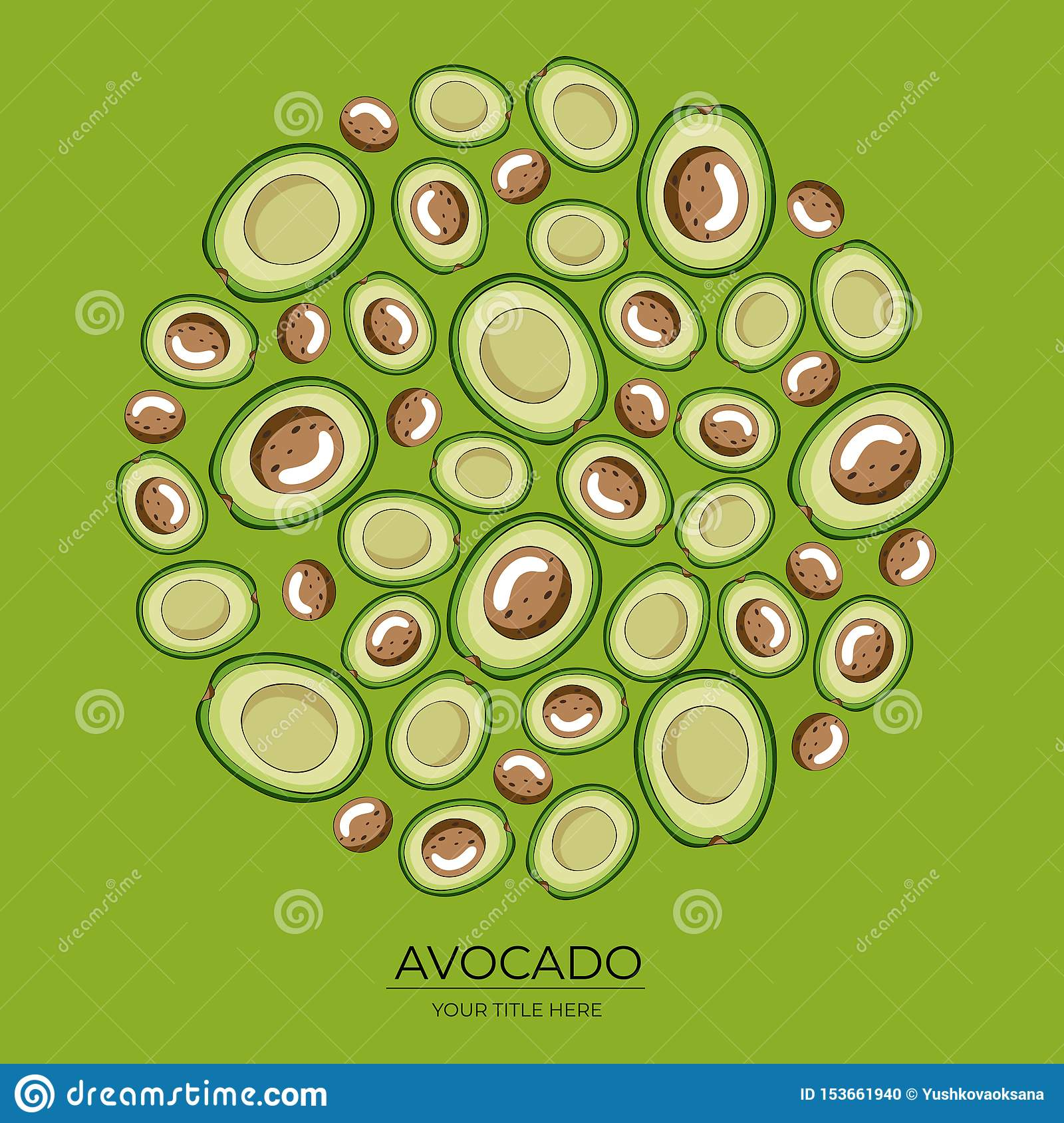 Round pattern of green avocado halves on a green background