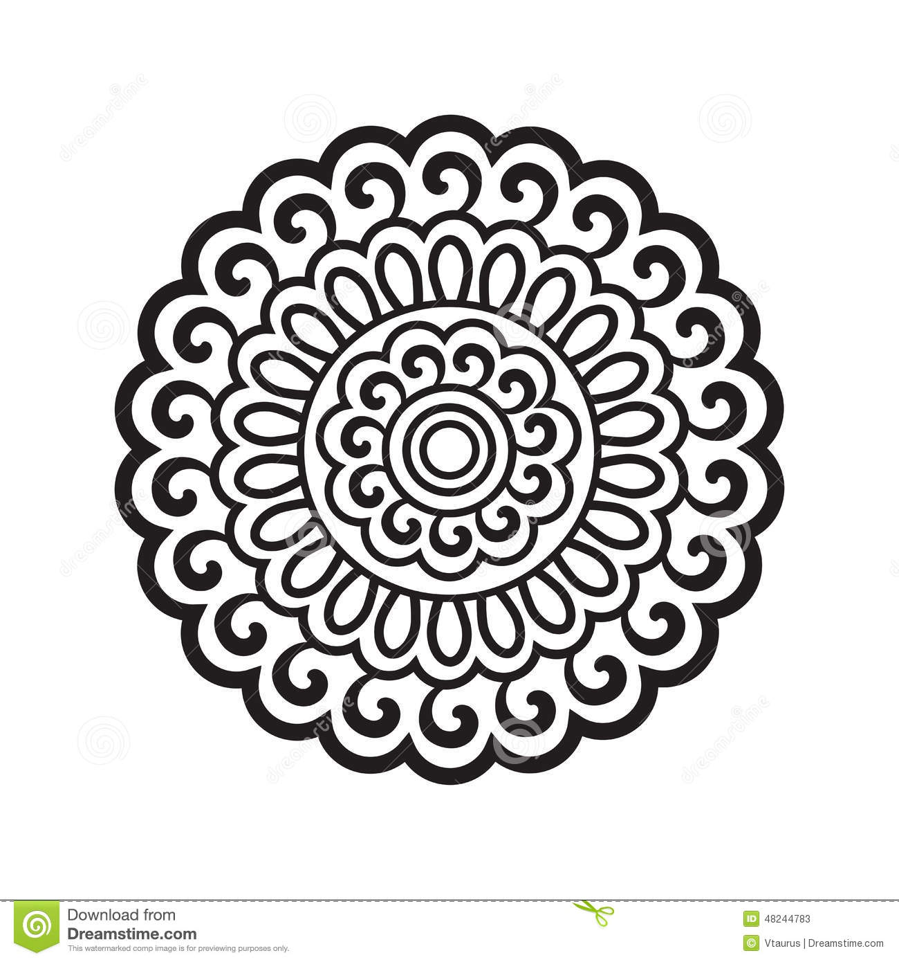 Abstract floral motif black and white graphics