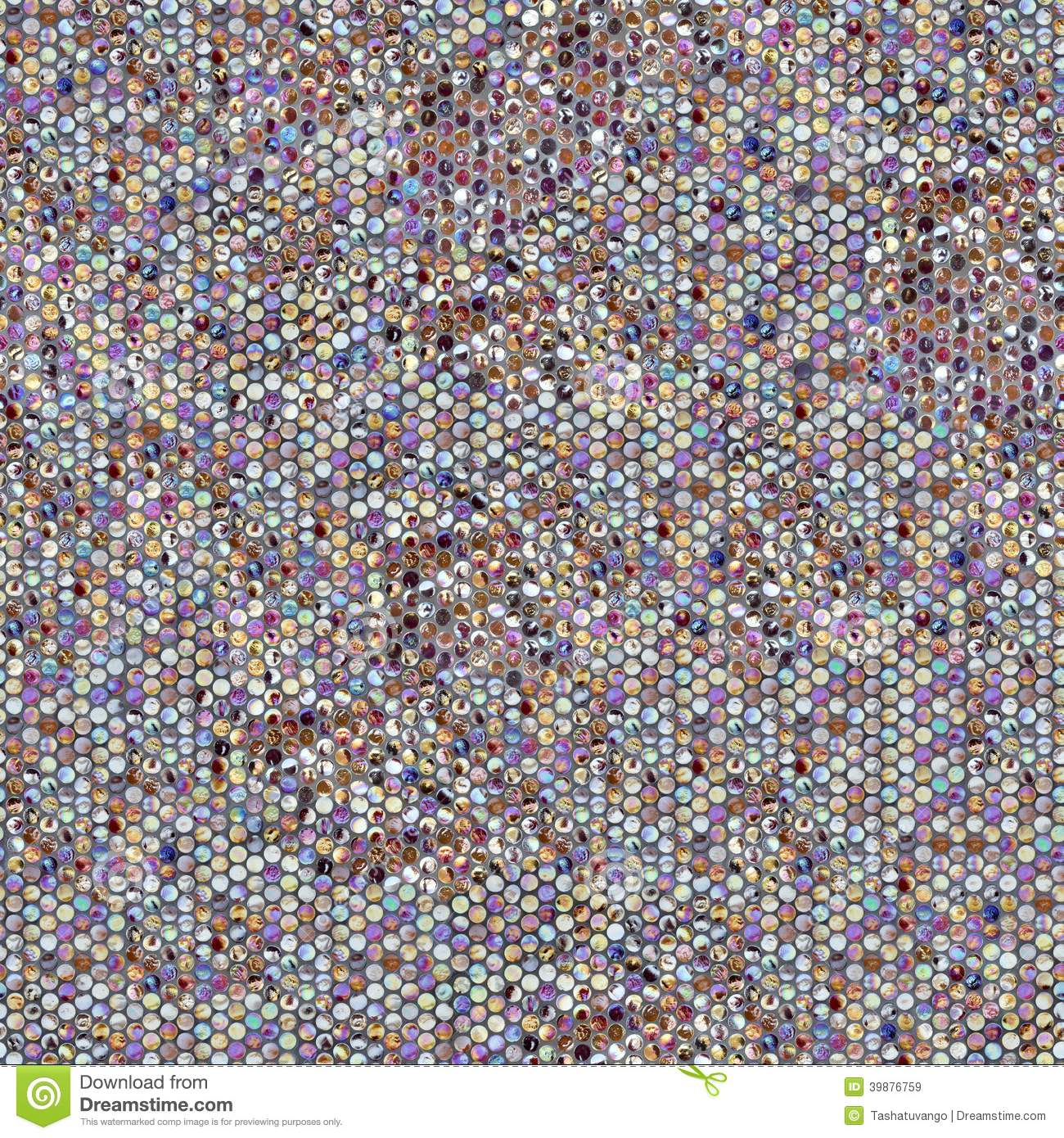 Round Pearl Mosaic. Seamless Tileable Texture. Stock
