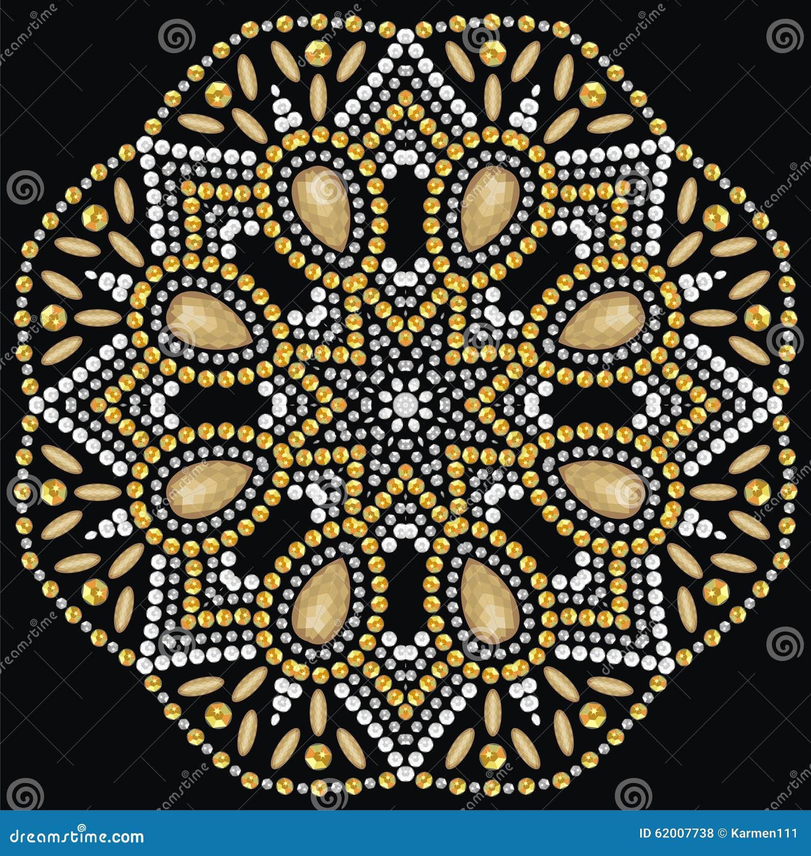 Round piękna biżuteria, medalion, broszka, dekoracja na szyi, mandala, aplikacyjni rhinestones