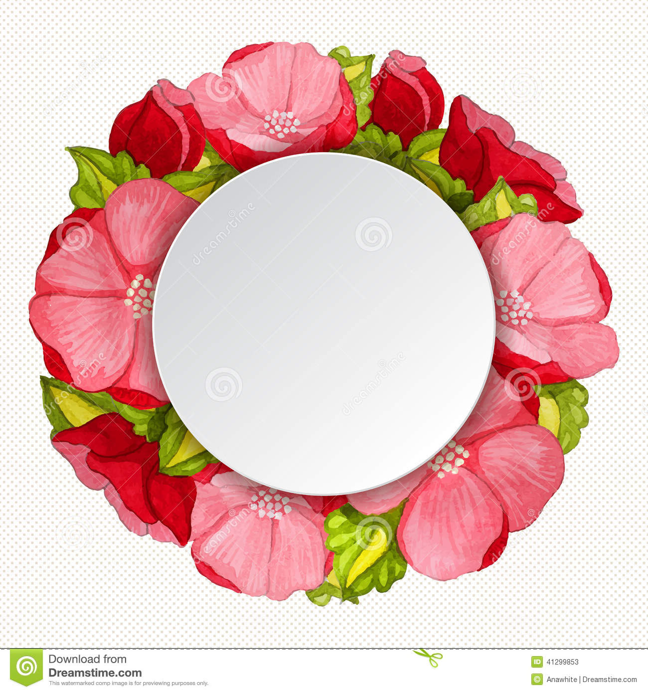 Vector round frame with pink flowers on white background in pastel - Frame Peony Pink Round