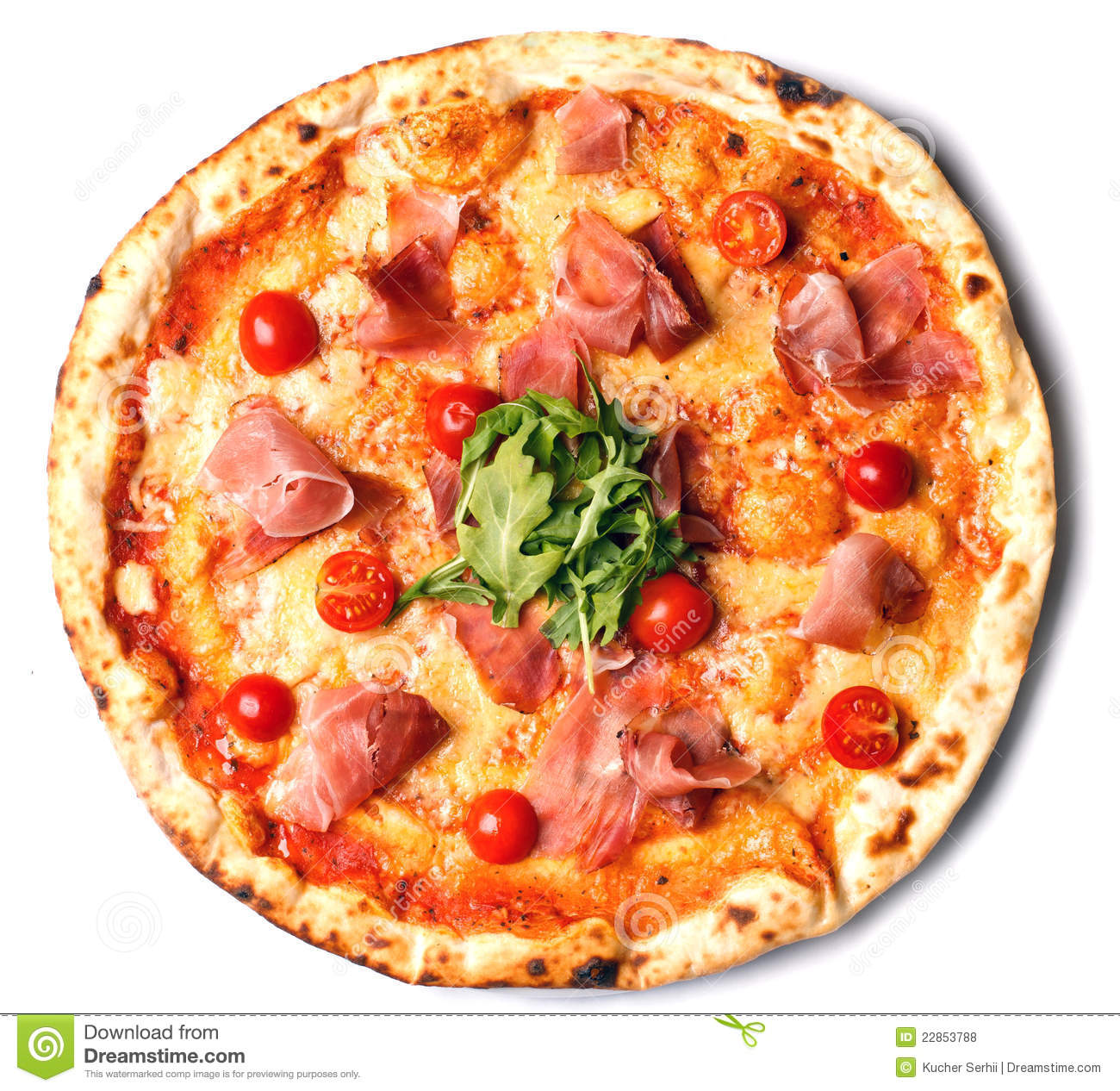 Round Pizza With Ham, Tomatoes And Greens Royalty Free ...