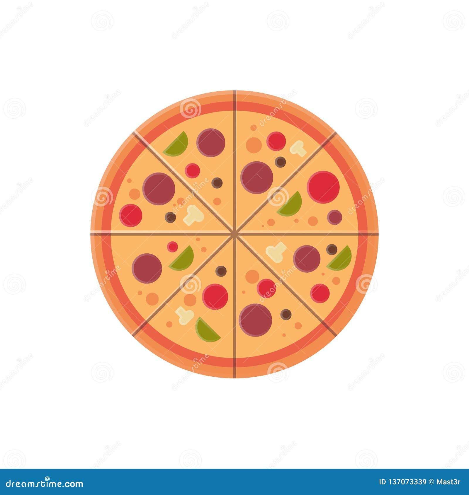 Round pizza pokrajać ikona fasta food menu pojęcie odizolowywającego nad białym tła mieszkaniem