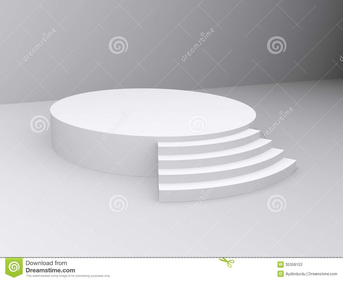 Round, white, illustrated platform or stage with steps in a simple ...