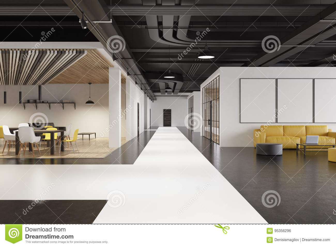 Office waiting area with yellow and black round pouffes white and black floor and a small canteen 3d rendering mock up