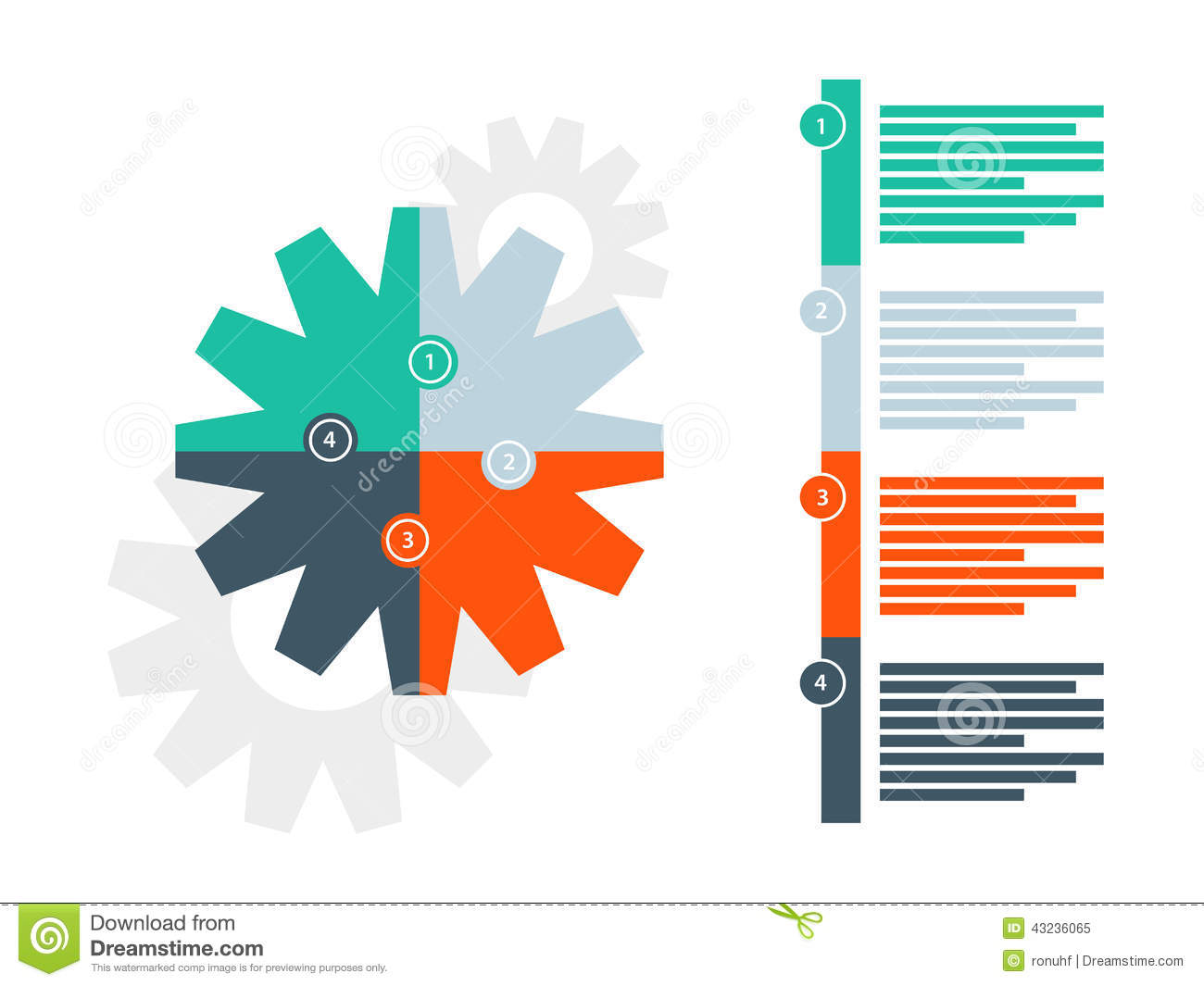 round puzzle gear presentation infographic diagram template with numbered explanatory text field