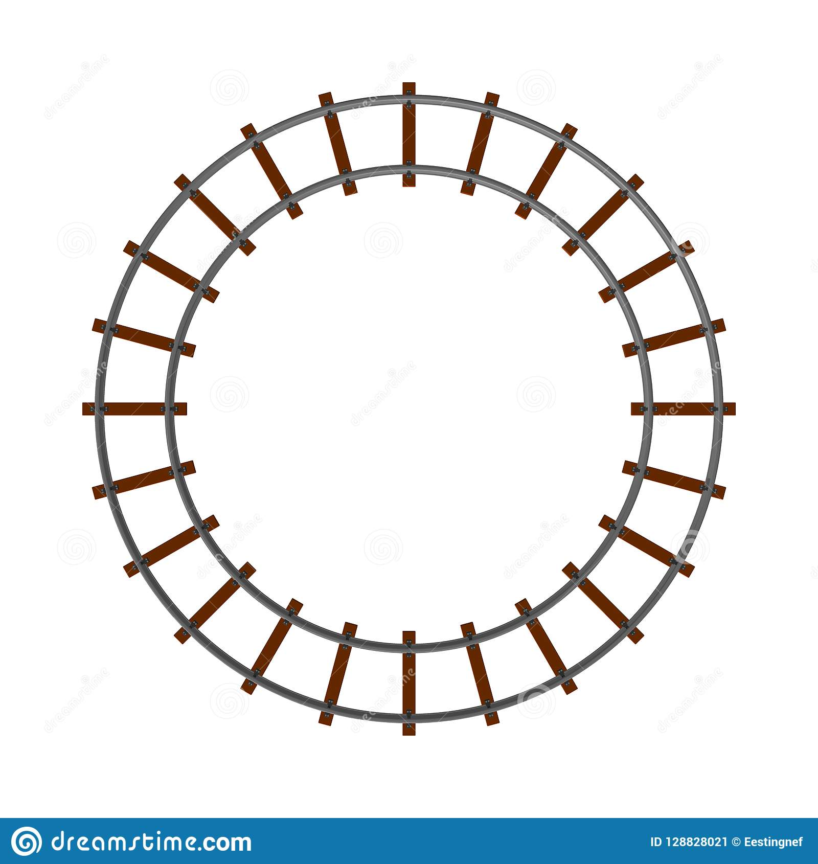 Round Railway Track  Isolated On White Background  3d Vector Ill