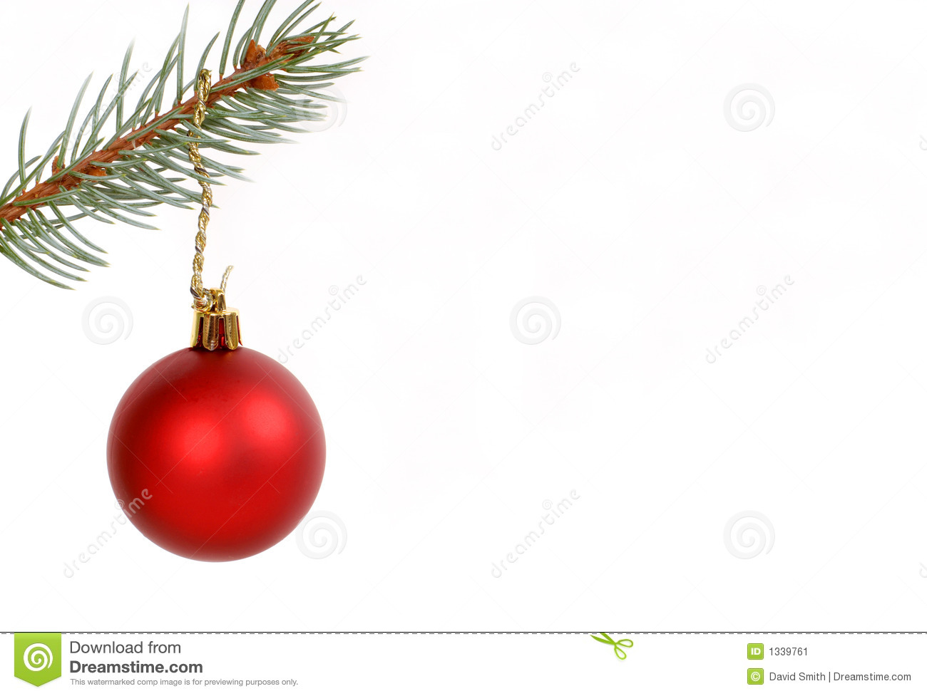 Round red christmas ornament hanging from evergreen branch stock image image 1339761 - Hanging christmas ornaments ...