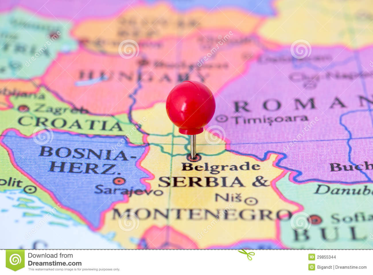 Red Pushpin On Map Of Serbia Stock Photo Image - Montenegro map download
