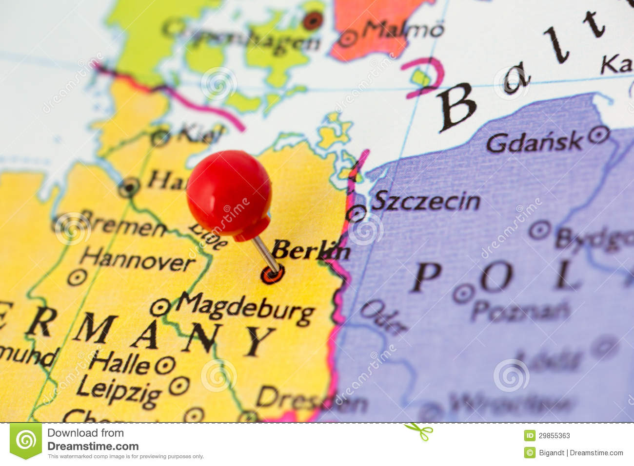 Red Pushpin On Map Of Germany Stock Image - Image of color, berlin ...