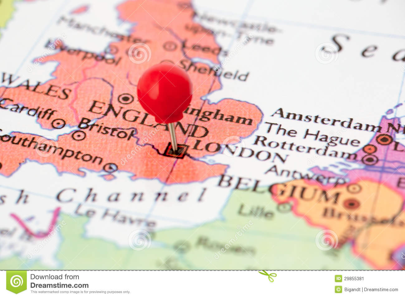 Geography Map Of England.Red Pushpin On Map Of England Stock Image Image Of Marking