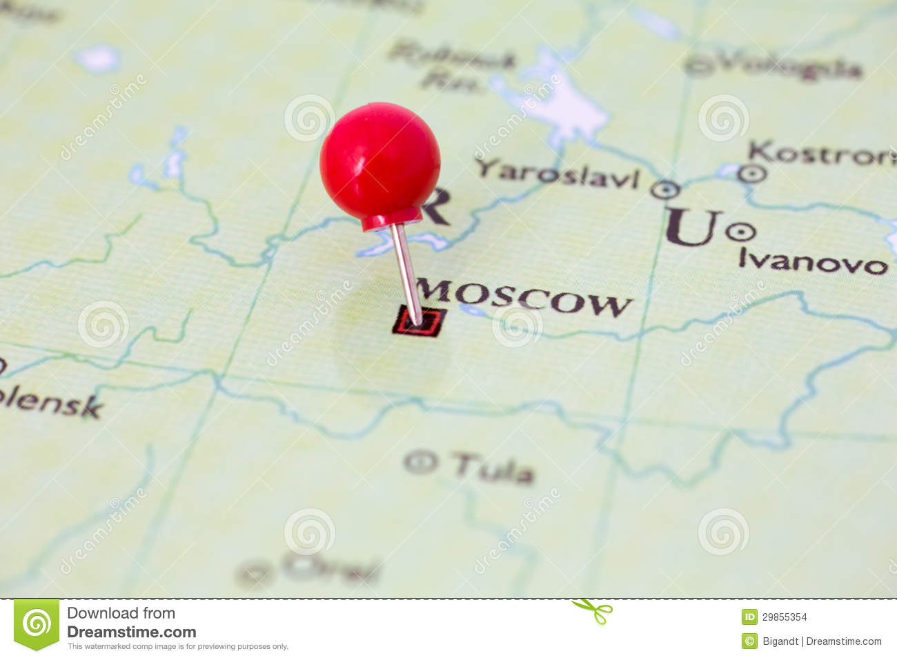 Red Pushpin On Map Of Russia Stock Photo Image Of Focus Thumb