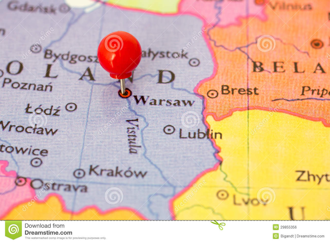 Red Pushpin On Map Poland Royalty Free Stock Image