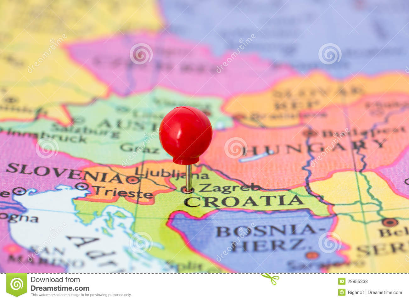 Croatia map part of collection covering all major capitals of europe