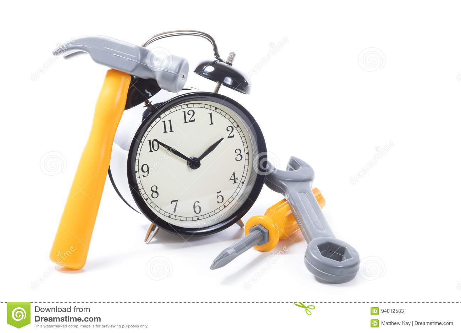 Round Retro Alarm Clock With Tools Stock Image - Image of