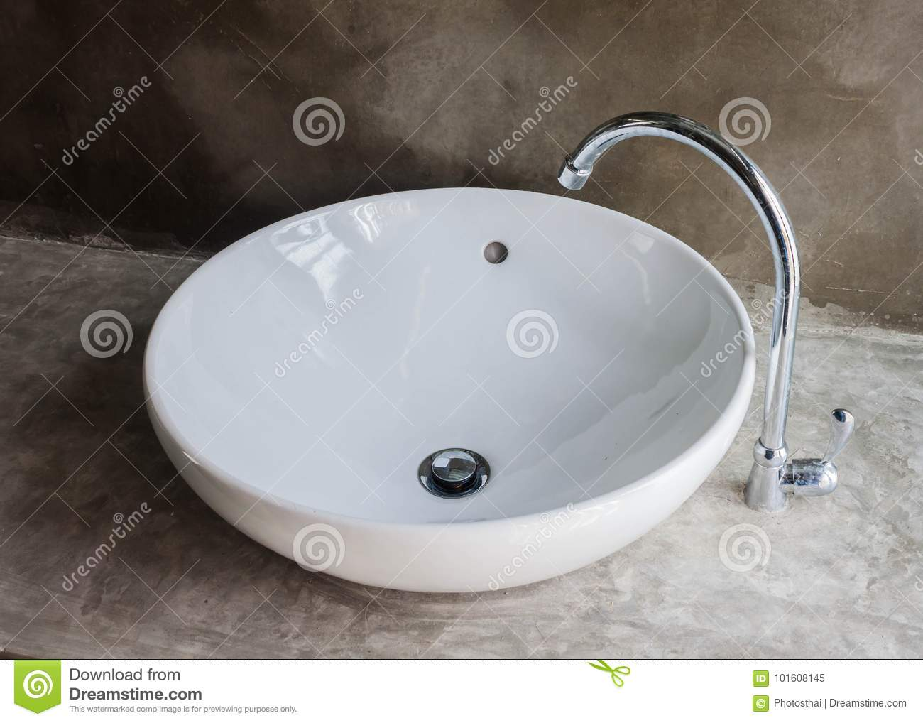 Round Shape Of Basin And Faucet In Bathroom. Stock Image - Image of ...