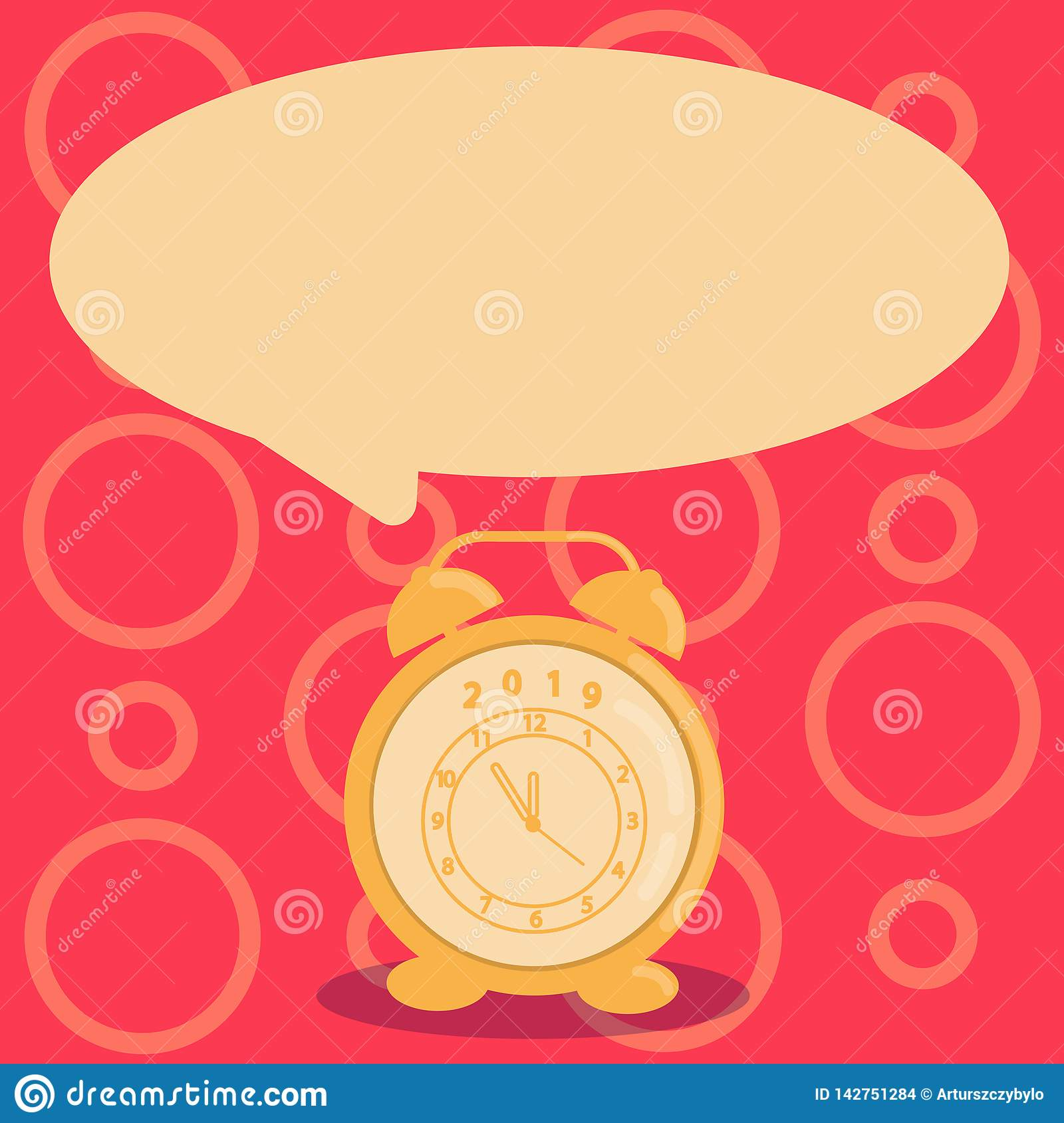Round Shape Blank Speech Bubble And Analog Alarm Clock In