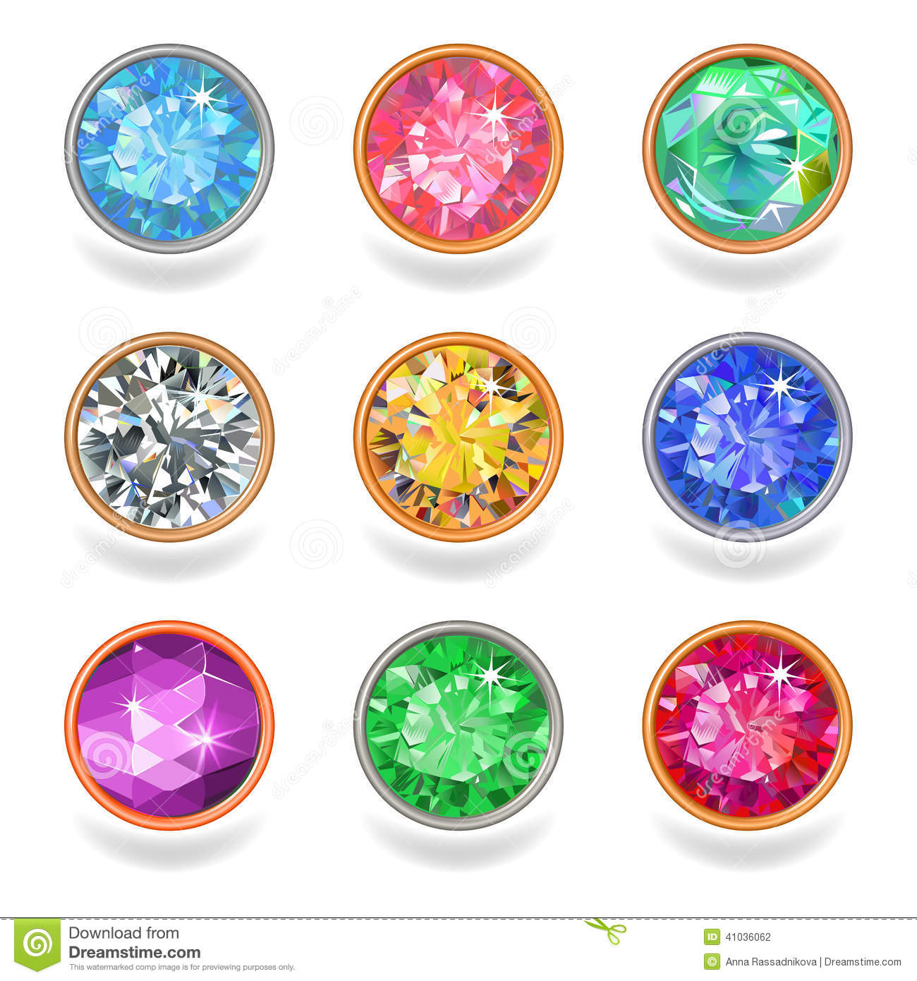 Round shape top view bezel colored gems