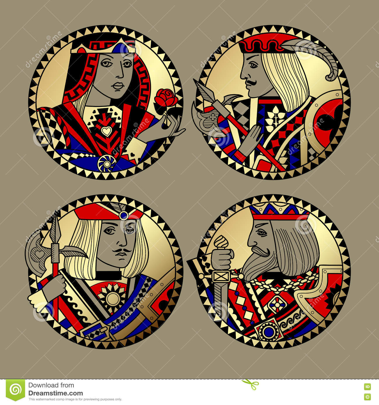 Round shapes with faces of playing cards characters