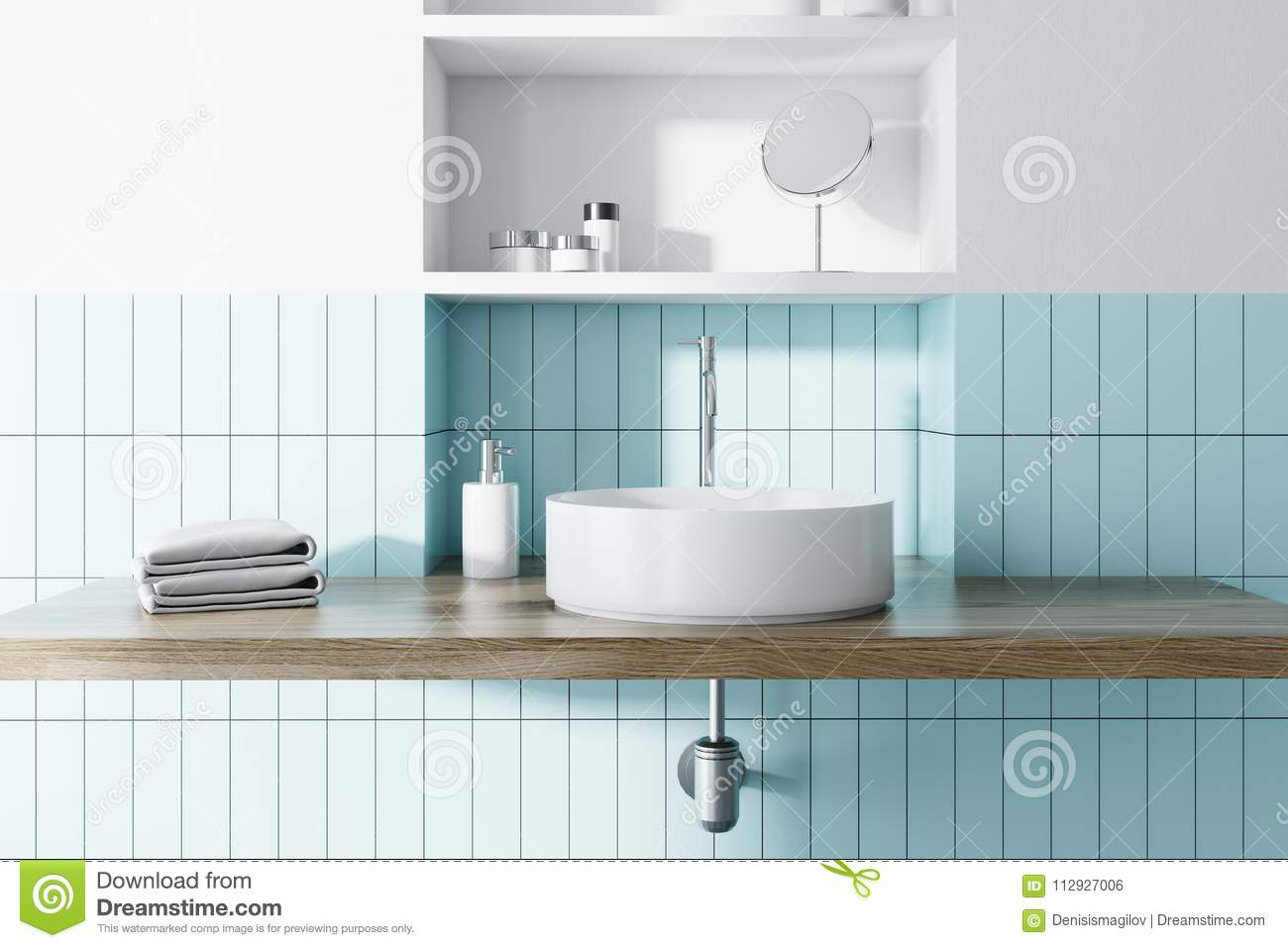 Sink In A Blue And White Bathroom Interior Stock Illustration ...