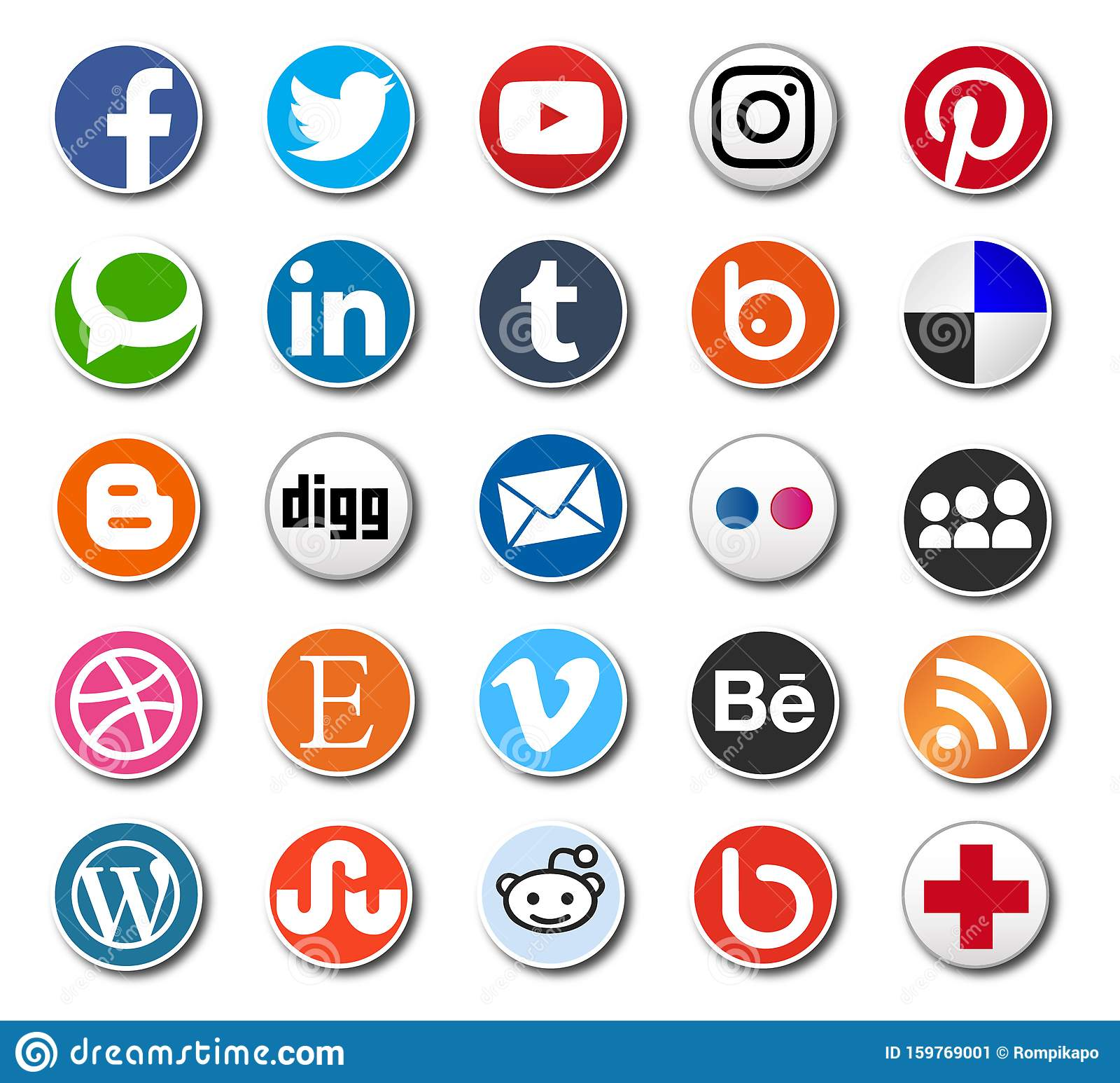 Round Social Media Icons Vector Sharing Buttons For Web Design And Printing Editorial Photo Illustration Of Content Illustration 159769001