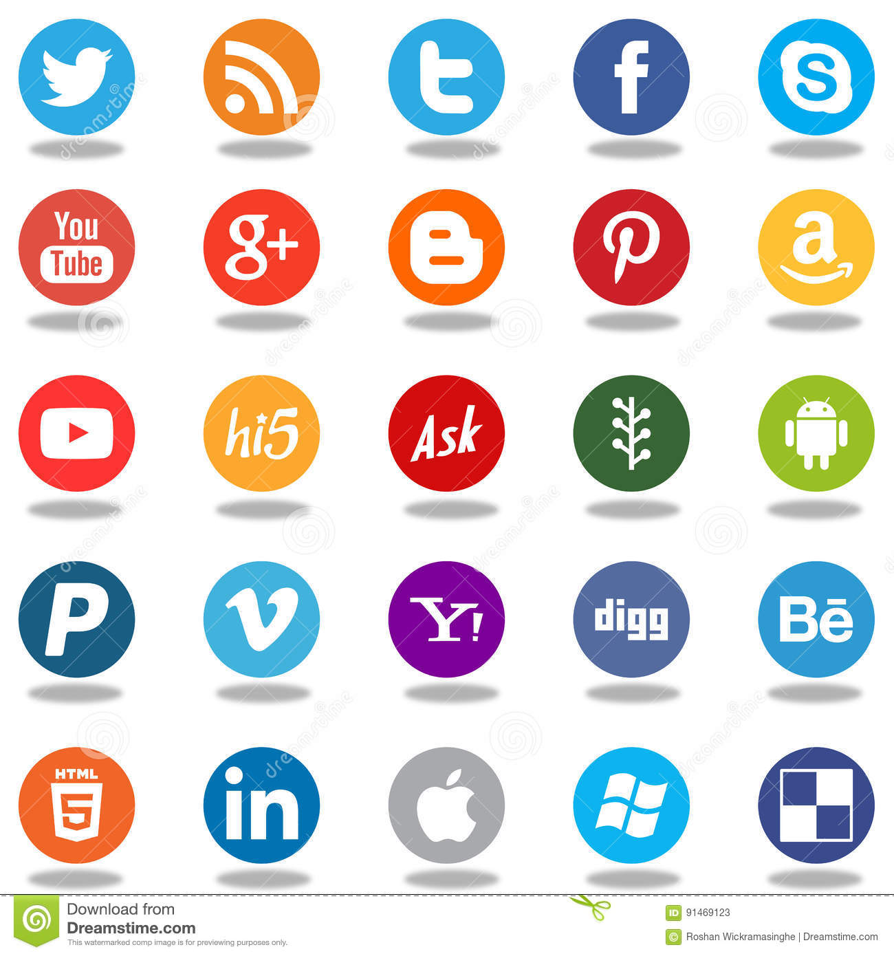 round social media network app logo icons editorial stock